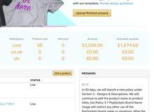 حسابات ميرش باي امازون merch by amazon جاهزة و فعالة