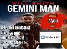 HP ELITEBOOK 745 G4جيل ثامن رمات 16 جيجا DDR4+هارد 256 SSD + هارد 500 ساتا
