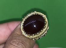 خاتم فضة حجر عقيق يماني كريزي طبيعي