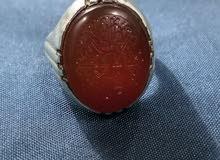 خاتم من العقيق اليماني مع حجر عقيق يماني أصفر