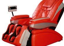 كرسي مساج جلد اللون احمر