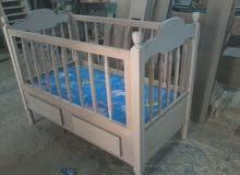 سرير أطفال خشب زان خراطة