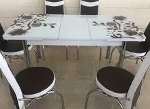 طاولة طعام مودرن صناعه تركية6 كراسي قابلة للتكبير والتصغير