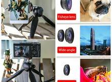 ميني ترايبود للكاميرا والموبايل مع 3عدسات مميزه للموبايل
