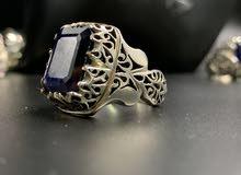خاتم ياقوت افريقي ازرق ( زفير )