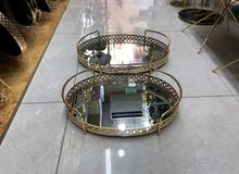 Golden mirror tray set