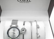 Coral Stylish Watches With Bracelets