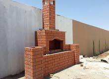 بناء الأفران المنزلية والشوايات الحجرية  والمشبات ونوافير وشلالات -العين