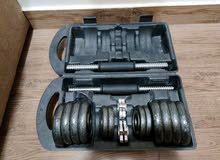 Gym exercise bench + 25kg dumbell set + barbell rod + fitness resistance band