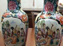 زوج فازات بورسلين قديم  رسم مينا يدوي