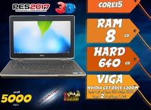 laptop dell core i5 ram 8 hdd 640 viga nvidia + intel للجرافيك