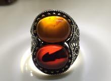 خاتم فضة كتوج بحجر عقيق يماني طبيعي