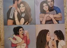 اربع صور جدارية  كل صورة الطول والعرض 27سم