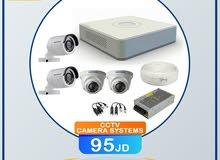 نظام مراقبة Hikvision DVR 4CH 4-Camera 2MP 4-Video Balun Power Supply اسلاك 50 متر فقط ب 95 دينار