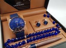 طقم رجالي جديد من لويس مارتن ساعة مع هدايا