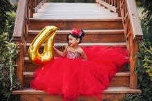 فستان اطفال احمر في فضي تصميم بالطلب فستانواطفال عيد ميلاد
