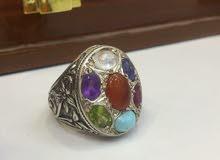 خاتم متعدد الاحجار يسمى خاتم الحكمه مع شهادة مختبر
