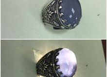 خاتم فضة رجالي بحجر عقيق يمني أصلية ميه في الميه