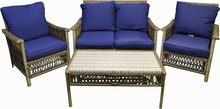 Sofa blue cushion