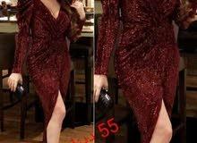 فستان سهرة مخمل مع ترتر تركي