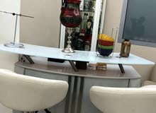Bar, Showcase and 3 Barstools for sale.