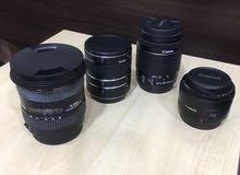 للبيع كاميرا كانون 70D مع 3 عدسات
