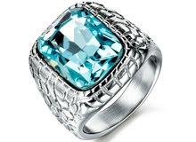 خاتم رجالي حجر زركونيا مربع ازرق