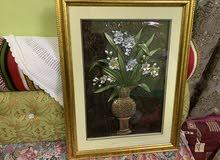 لوحة فنية مع مرآة حائط بإطار خشبي