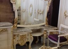 غرفة نوم مصري دمياطي ملوكي خشب زان ولاتيه حفر يدوي 8قطع مولكي