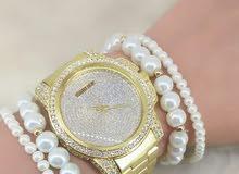 ساعة نسائية مع هدية اساور لولو