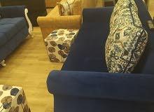 طاقم متكامل كنبة زوجية وفردية ×2 وسداسية اللون أزرق ملكي
