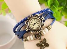ساعة الفراشة من الجلد - اللون الأزرق