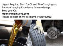 Urgent Required Staff for Oil and Tire Changing for Garage