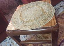 طاولات خشب عراقي اصلي مع ميز ستيل ذهبي