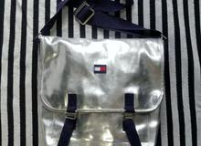 Vintage 90's Tommy Hilfiger Silver Chrome Messenger Bag Flag Patch Logo rare