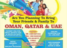 Tourist visa - 10.30,60,90 Days - Oman, Dubai-Uae & Qatar