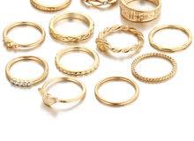 طقم خاتم نسائي (12 قطعة) - مرصع بحجر الراين بتصميم عصري