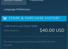 حساب ستيم في 40$ للبيع للجادين فقط