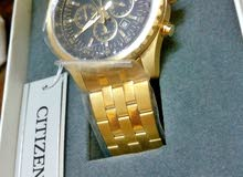 ساعة citizen original جديدة بالكيس لم تستخدم اطلاقا ذهب