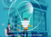 تصميم دعايات وإعلانات للانستجرام بالقطعة