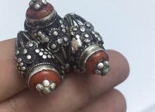 خواتم فضه قديمه يمني ملبس حجر المرجان الاصلي انتيكا