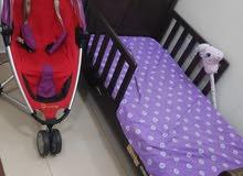 سرير و عربة اطفال