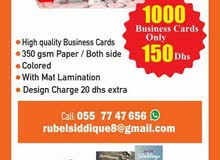 1000 pcs Business Cards Only 150dhs/055 77 47 656