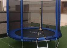 نطاطة ترامبولين 8 قدم طول قطرها 240 سم مزودة بسلم وشبكة حماية