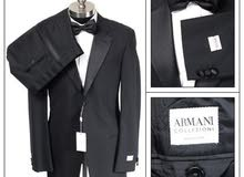 $2K NWT ARMANI COLLEZIONI Solid Black Wool 1Btn Tuxedo Suit Made Italy