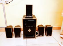 Home theatre available with remote control and 5 speakers
