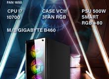 تجميعة جيمنج احترافية جيل عاشر معالج core i7 مع كيس ب 3 مراوح RGB 16GB RAM