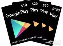 بطاقات جوجل بلاي + ايتونز  جميع الفئات للحساب الأمريكي