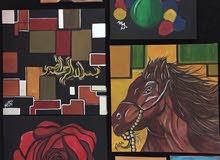 لوحات مودرن رسم يدوي مقاسات مختلفه