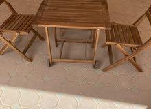 طاولة خشب للحديقة مع 4 كراسي